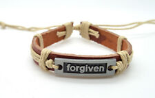 FORGIVEN Inspirational Bracelet Leather and Metal with cord hand made 8""