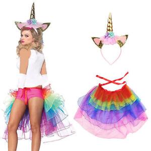 Ladies MAGICAL RAINBOW UNICORN TUTU COSTUME Halloween Fancy dress Girls Skirt UK