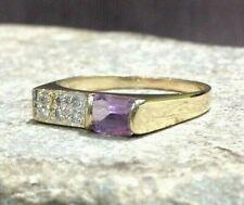 Diamond 14k Yellow Gold Ring New ListingVintage Modernist Amethyst &