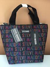 Steve Madden Multicolor Logo Insulated Black Zipper Black Handle Lunch-Tote Bag