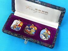 Vintage Chinese China 1970's Set 3 Peking Jewelry Enameled Cloisonne Pendant 3