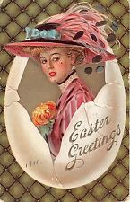 Beautiful Lady in Big Pink Hat Hatching From Egg-1911 Easter PC-F. Earl Christy