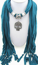 NEW fashion jewelry skull pendant necklace scarf charms scarves shawl K10