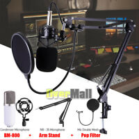 Condenser Microphone Kit USB Set Audio Studio Pop Filter Arm Stand Shock Mount