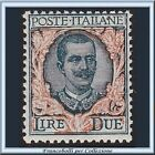 1923 Italia Regno Floreale L. 2 verde grigio arancio n. 150 Nuovo Integro **