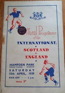 1939 - Scotland 🏴 v England 🏴 Programme