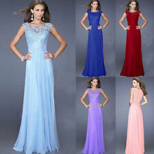 Formal Cocktail Party Ball Gown Evening Bridesmaid Long Lace Chiffon Dress Purpl