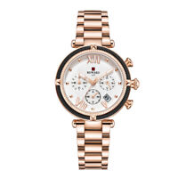 Women's Fashion Quartz Watches Multifunction Rose Gold Stainless Steel Bracelet