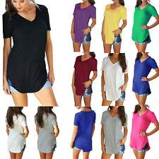 Women Short Sleeve Long Tee Top Summer Causal Loose Plain Tunic Blouse T-Shirts