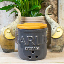 Grey Ceramic Garlic Storer Wooden Lid Storage Canister Jar Pot Kitchen Holder