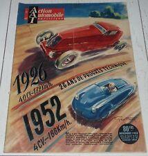 ACTION AUTOMOBILE NOVEMBRE 1952 BILAN SALON 2 CV BERNIER MOTOS FLINS OCCASION