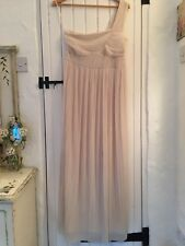 H&M Ladies Long Party Ball Maxi Dress One Shoulder Pleated Cream - Size S