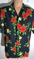Hawaiian Men Shirt Large Black red hibiscus hawaiian aloha shirt Camp shirt