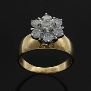 Estate 1.00 Ct Round Diamond 14K Yellow Gold Flower Ring G-H & Si Certified
