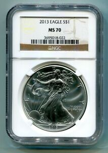 2013 AMERICAN SILVER EAGLE NGC MS 70 BROWN LABEL PREMIUM QUALITY MS70 PQ
