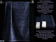 💜 Next Greek Maze Labyrinth 2 Velour Hand Bath Towels Lot Navy Blue Dark Purple