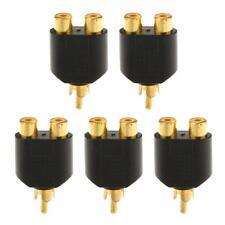 5pcs RCA 1 Male to 2 Female AV Audio Video Splitter Adapter Converter Plug