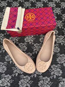 Tory Burch Minnie Travel Ballet Flat Logo Goan Sand Size 9 M Slip On Ballerina
