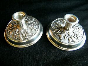 2 VTG Norway Candle Holders Candlestick Gnomes Tomte Silver Plate Christmas