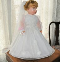 """Vintage 1960/70 24"""" Bride Doll marked 24 71 on neck beautiful dress veil shoes"""