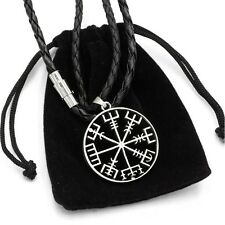 Viking Vegvisir Compass Pendant Norse Nordic Pirate Pendant Necklace Genuine Lea