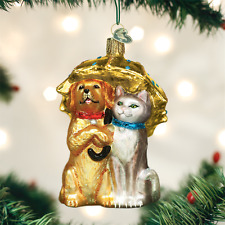Raining Cats & Dogs with Umbrella glass Ornament Old World Christmas NEW