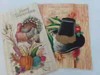 2 Vtg 1960s TURKEY &  Pilgrim HAT Embossed THANKSGIVING GREETING CARDS