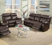 Poundex 2Pcs Espresso Bonded Leather Motion Living Room Set Reclining