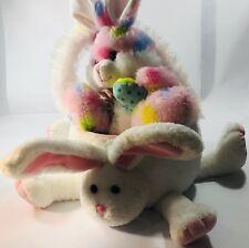 "Plush White Bountiful Bunny Easter Basket 13"" Plush Lot Of 2 Rabbits Gift Set"