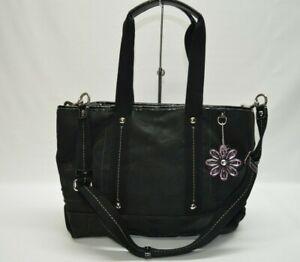 Coach Daisy Signature Black Canvas Leather Trim Zip Tote Bag F16552