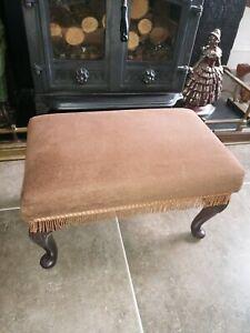 """"""" Sherborne """" Footstool , Tilt Adjustable Brown Dralon  Velvet Queen Ann Legs"""