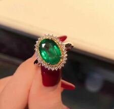Certified Genuine Natural Colombian Emerald 925 Sterling Silver Ring Women Gift