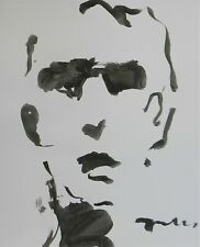 "JOSE TRUJILLO Black INK WASH on Paper Collectible 14x17"" Abstract Male Portrait"