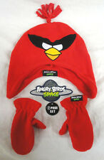 ANGRY BIRDS SPACE, 2-PIECE KIDS RED SOCK HAT & MITTEN SET, ONE SIZE FITS ALL,NEW