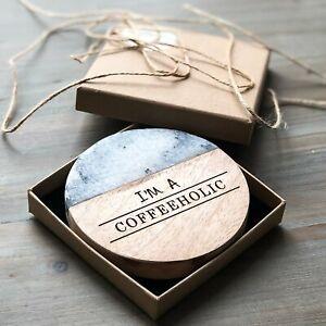 """Coffeeholic"" Acacia and Marble Coaster"