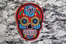 #5111B  Red Sugar Skull Biker Motorcycle Embroidery Iron On Appliqué Patch