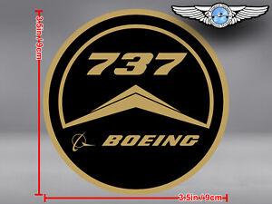 OLD VINTAGE STYLE ROUND BOEING B 737 B737 LOGO DECAL / STICKER