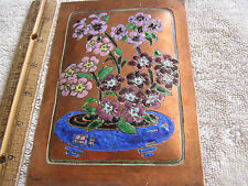 Vintage Decorative Copper Painted Flowers Plate