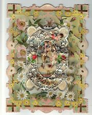 Antique 1900'sValentine with Couple, Cupid, Flowers