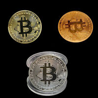 3x BITCOIN Münze Medaille Kupfer Copper vergoldet Silber Sammlung Geschenk Münze
