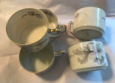 "Epiag ~ Czechoslovakia ~ ""Pastelle"" ~ Set of 5 Flat Cups With Gold Trim ~ EUC"
