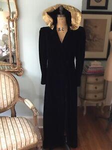 Glamorous 1930's Long Black Velvet Opera Coat Gold Metallic Hood Film Collector