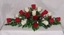 wedding flowers table dec red & ivory roses gyp & variagated foliage