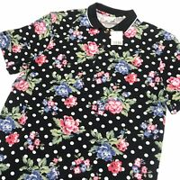 fff84003 Urban Outfitters Polo Shirt Pique Floral Polka Dot Size Large NWT Blue