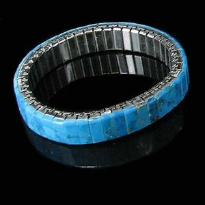 Natural Turquoise Inlaid Stainless Steel Stretch Band Bracelet