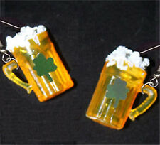 Funky Realistic BEER MUG EARRINGS Shamrock-St Patricks-Bar Drink Costume Jewelry