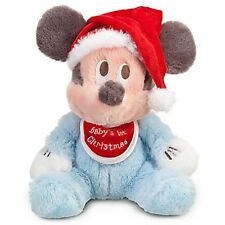 "BABY'S 1ST CHRISTMAS MICKEY MOUSE HOLIDAY PLUSH 9"" DISNEY PARKS AUTHENTIC NWT"