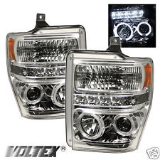 2008-2010 FORD F250 350 SUPER DUTY HALO LED PROJECTOR HEADLIGHTS LIGHTBAR CHROME