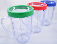 Magic Bullet Party Mugs Cups Set of 3 with  Colored Lip Ring  New