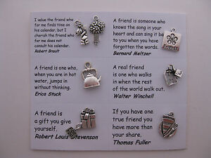Friendship charms for scrapbooking, card and jewelry making -7 charms and quotes